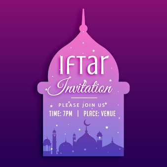 Iftar party invitation with mosque silhouette