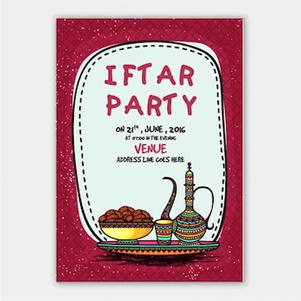 Iftar party invitation with tea and cookies