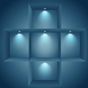 Illuminated shelves on wall