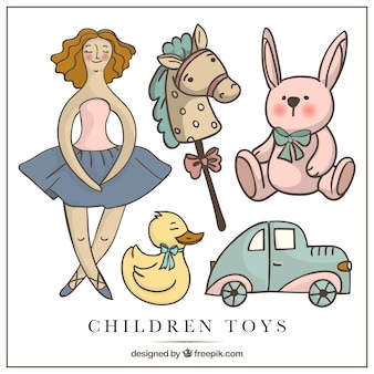 Illustrated children toys in vintage style