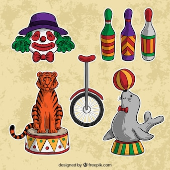 Illustrated circus elements collection