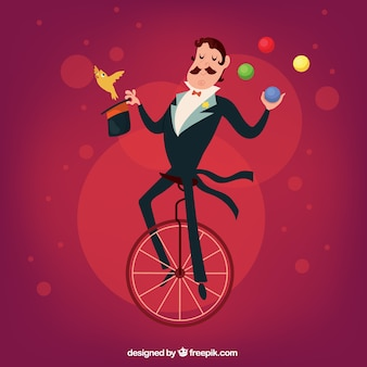 Illustrated circus magician