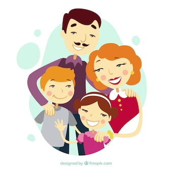 Illustrated cute family