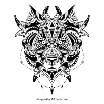 Illustrated ethnic wolf