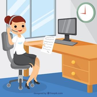Illustrated female secretary