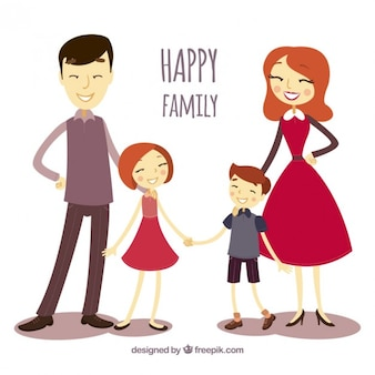 Illustrated happy family