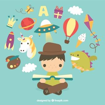 Illustrated kid imagination
