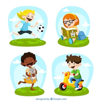 Illustrated kids playing