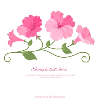 Illustrated pink flowers
