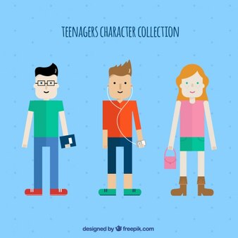 Illustrated teenager characters collection