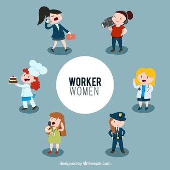Illustrated worker women