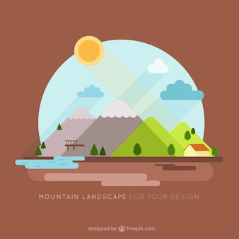 Illustration background of house and mountains