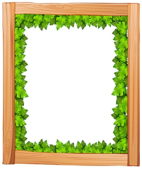 Illustration of a border design made of wood and green leaves on a white background
