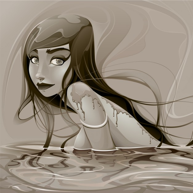 Illustration of a mermaid, sepia