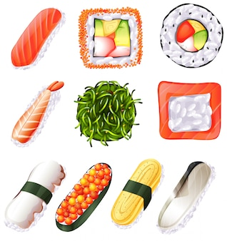 Illustration of a set of sushi on a white background