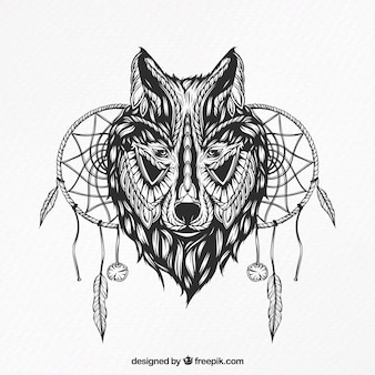 Illustration of a wolf with dream catchers