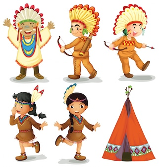 Illustration of american red indians