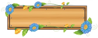 Illustration of an empty signboard with flowers on a white background