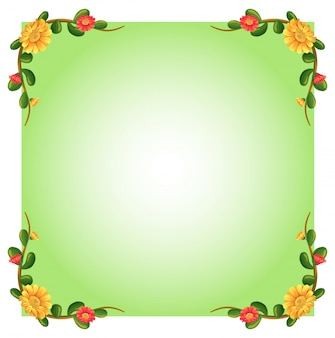Illustration of an empty template with floral borders on a white background