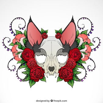 Illustration of animal skull with roses and ornaments