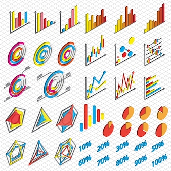 Illustration of chart icons set concept in isometric graphic