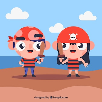 Illustration of children disguised as pirates in flat design