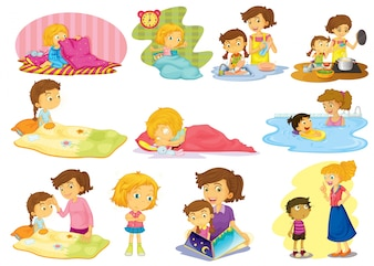 Illustration of children doing many activities