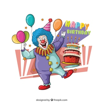 Illustration of clown with cake