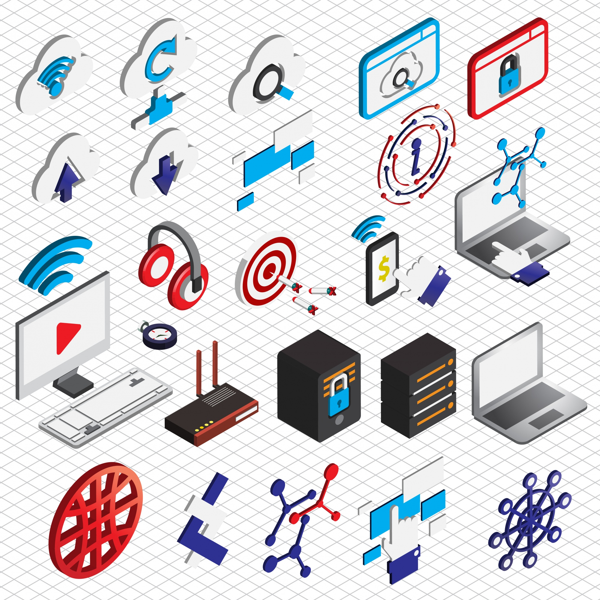 Illustration of computer icons set concept in isometric graphic