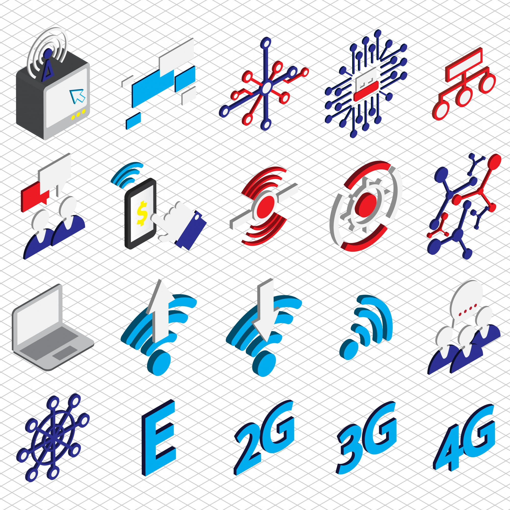 Illustration of connection icons set concept in isometric graphic