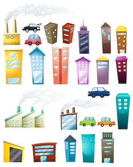 Illustration of different buildings