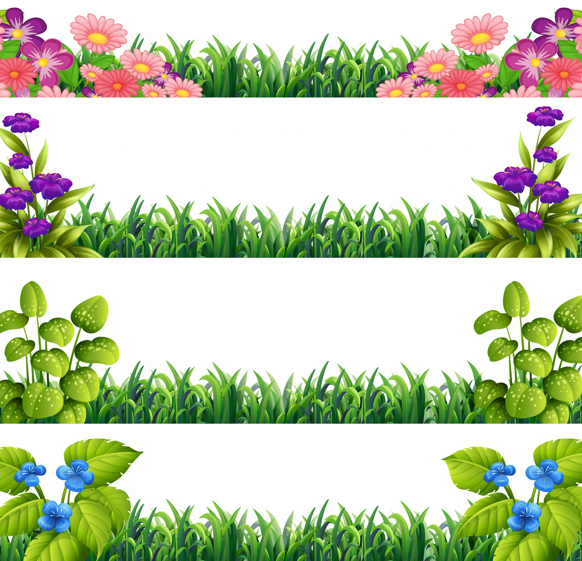 Illustration of different sings of flower decoration