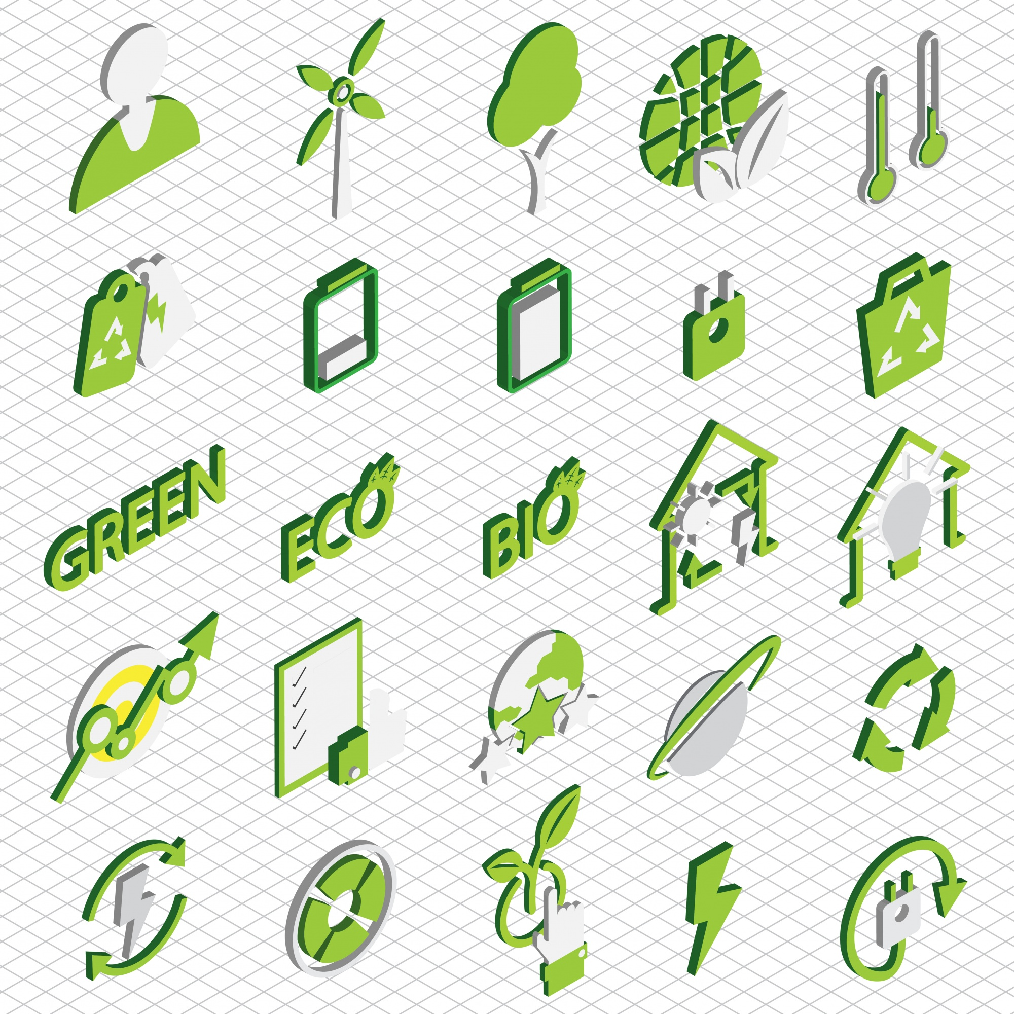 Illustration of eco icons set concept in isometric graphic