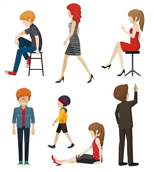 Illustration of faceless people in different poses