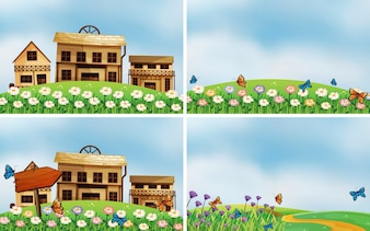 Illustration of four scenes of houses and nature
