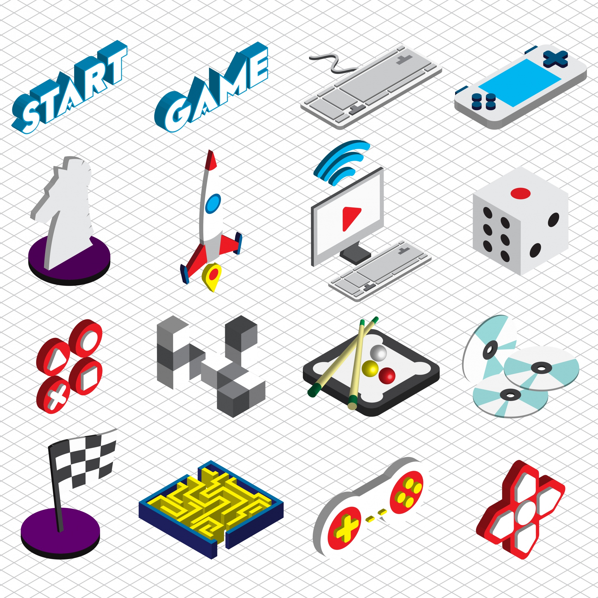 Illustration of game icons set concept in isometric graphic