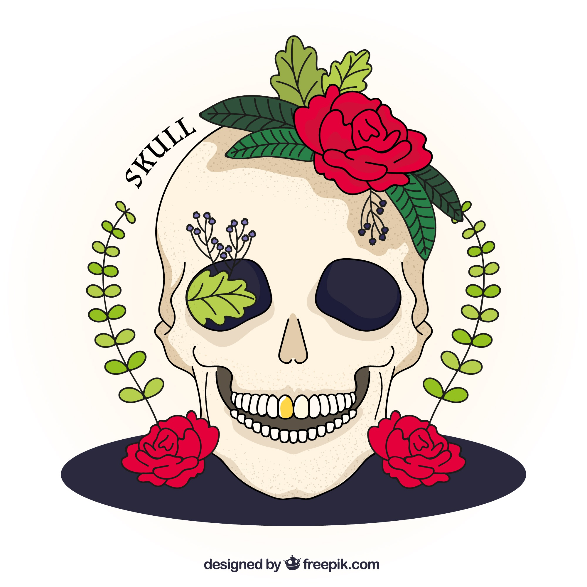 Illustration of hand drawn skull with roses