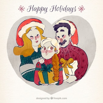 Illustration of hand drawn watercolor christmas family