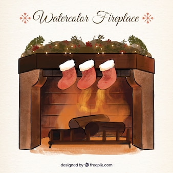 Illustration of hand drawn watercolor fireplace with christmas socks