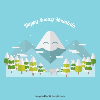 Illustration of happy snowy mountain with trees