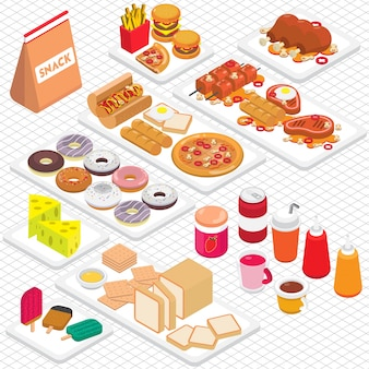 Illustration of junk food graphic in isometric 3d graphic