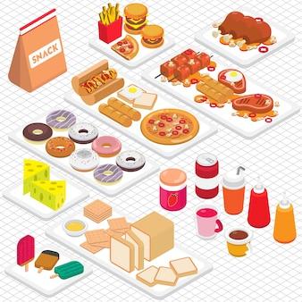 アイソメ3Dグラフィックでジャンクフードグラフィックのイラスト