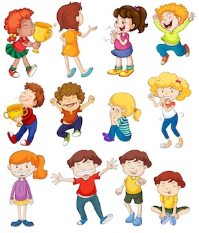 Illustration of kids in winning and cheering poses