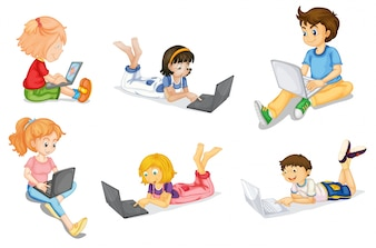 Illustration of kids with laptop on a white