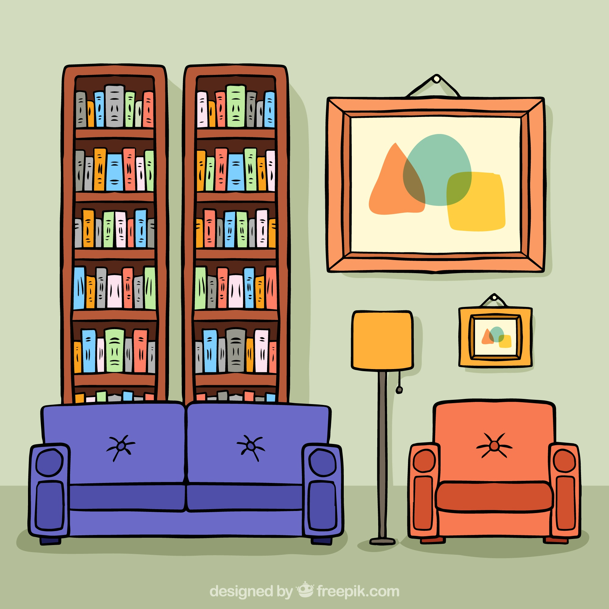 Illustration of living room with table and shelves