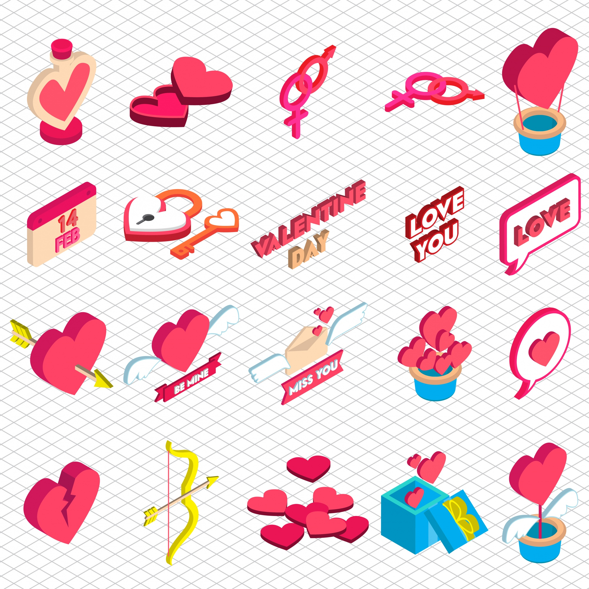 Illustration of love icon graphic in isometric 3d graphic