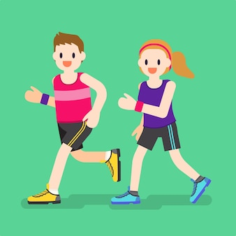 Illustration of man and woman jogging
