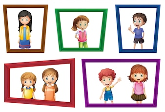 Illustration of many children in the photo frames