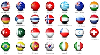 Illustration of many icons of different countries