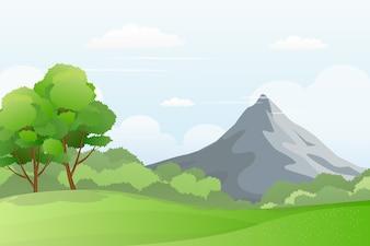 緑の丘、山viewトラフのイラスト。谷景色のベクトル図。
